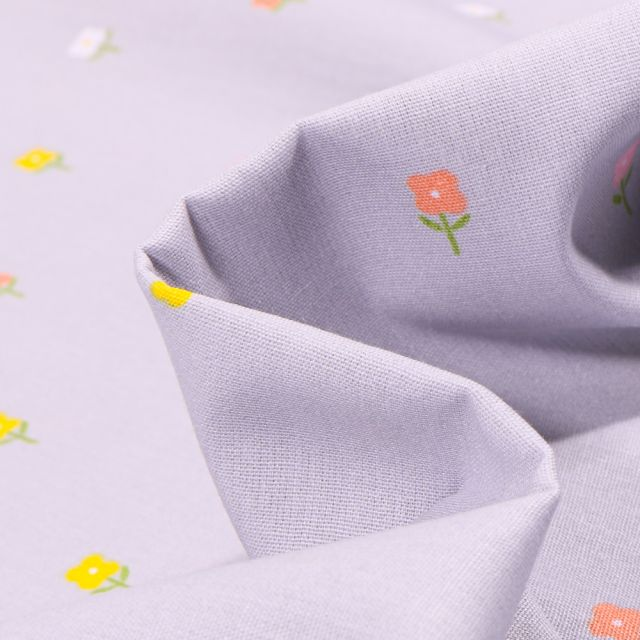 Tissu Coton imprimé LittleBird Mini fleurs sur fond Gris