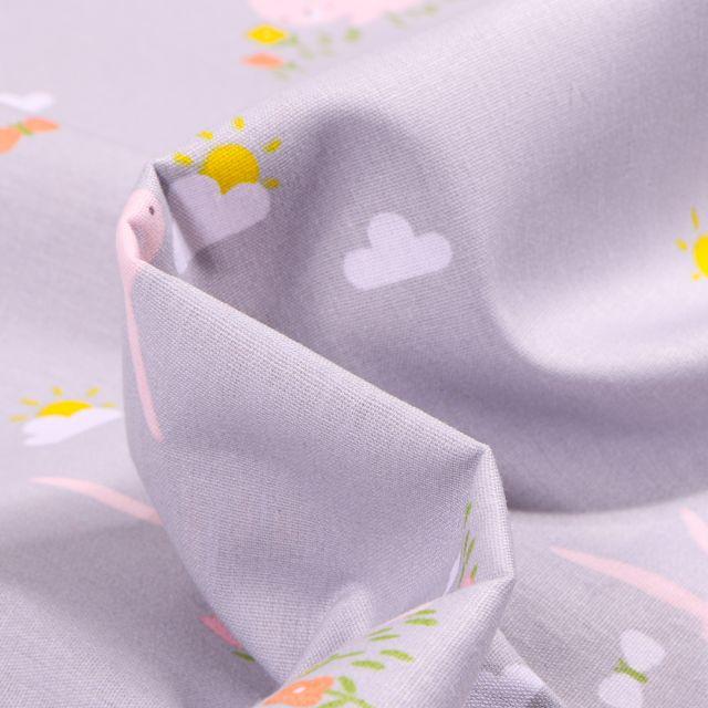 Tissu Coton imprimé LittleBird Nuages et lapins sur fond Gris