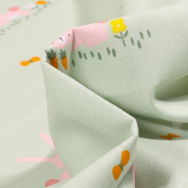 Tissu Coton imprimé LittleBird Nuages et lapins sur fond Vert menthe