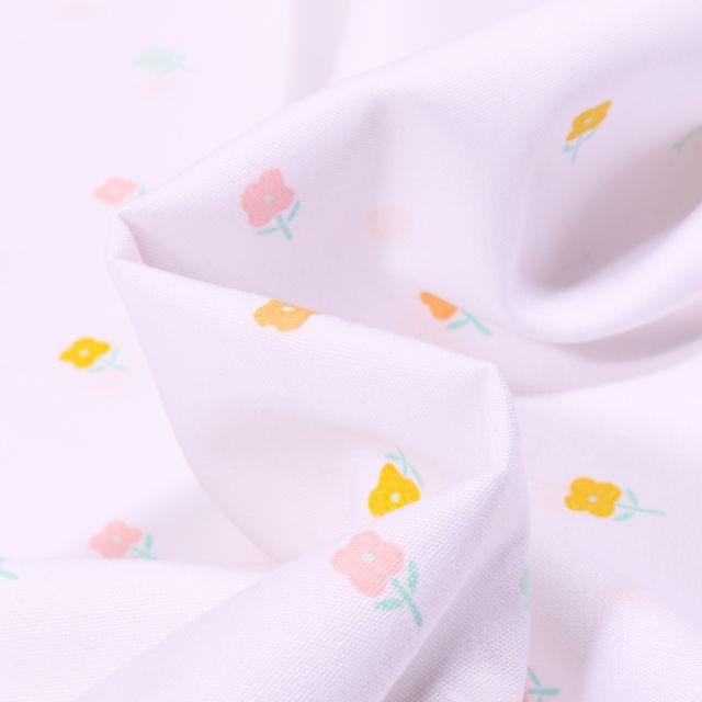 Tissu Coton imprimé LittleBird Arc en ciel pastel sur fond Blanc
