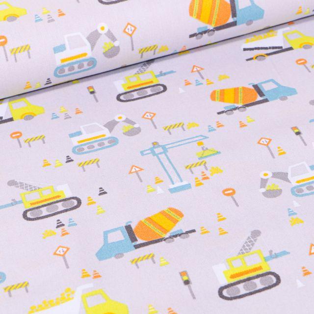 Tissu Coton imprimé LittleBird Chantier en cours sur fond Gris clair