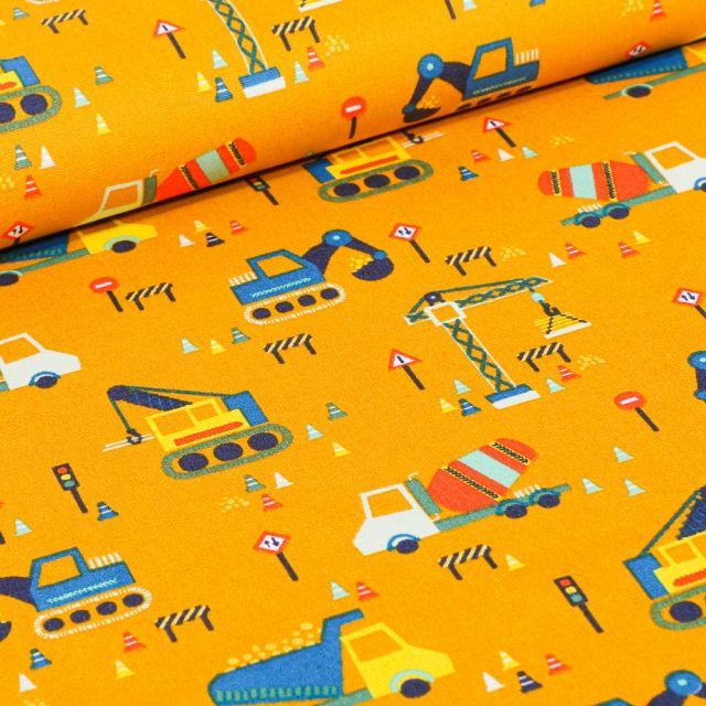 Tissu Coton imprimé LittleBird Chantier en cours sur fond Jaune