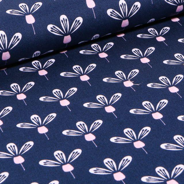 Tissu Coton imprimé Fleurs blanches tiges rose sur fond Bleu marine