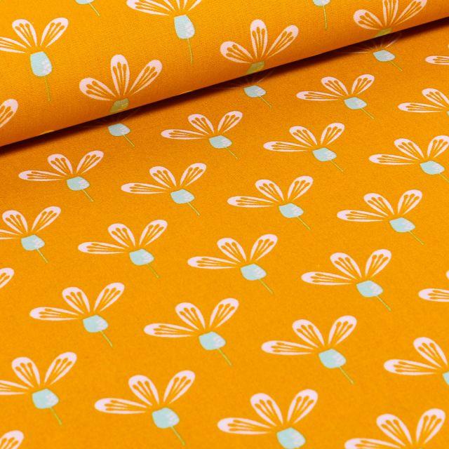 Tissu Coton imprimé Fleurs blanches tiges bleus sur fond Jaune
