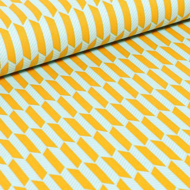 Tissu Coton imprimé Rectangle jaunes sur fond Vert menthe