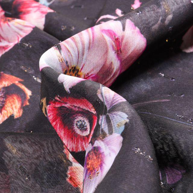 Tissu Mousseline Coquelicots sur fond Noir