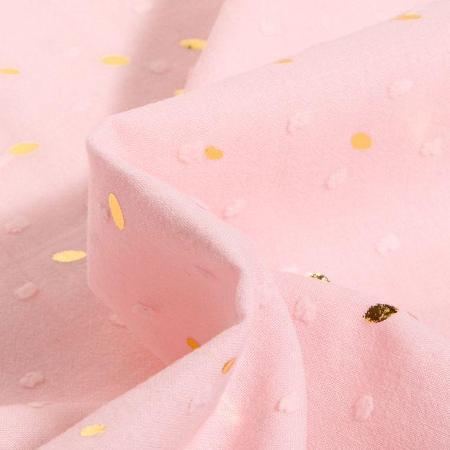 Tissu Plumetis léger Pois dorés métallisés sur fond Rose