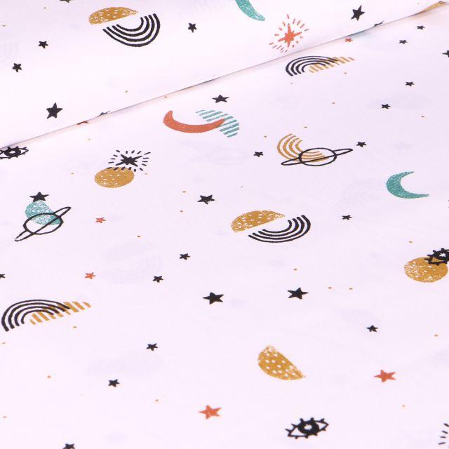 Tissu Coton imprimé Bio Astro sur fond Blanc