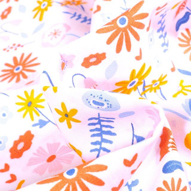 Tissu Coton imprimé Bio Fleurs des champs sur fond Blanc