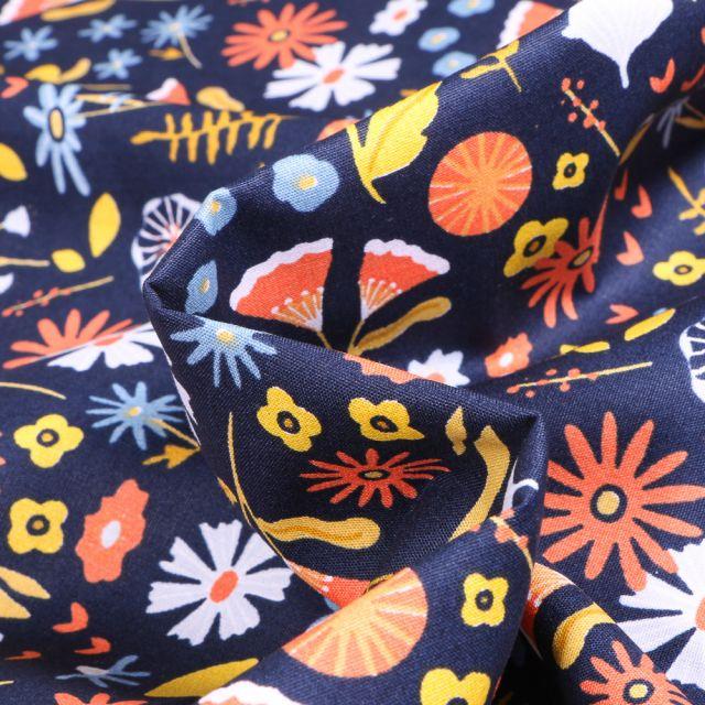 Tissu Coton imprimé Bio Fleurs des champs sur fond Bleu marine