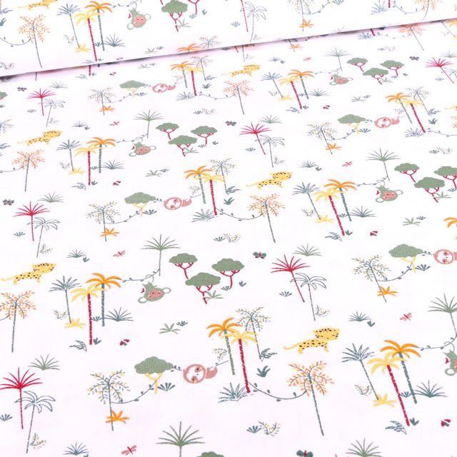 Tissu Coton imprimé Bio Palmeraies et singes sur fond Blanc