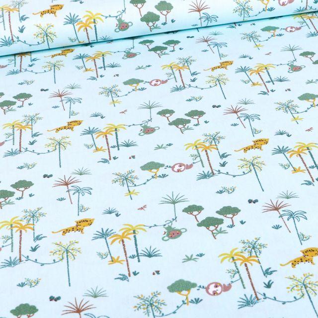Tissu Coton imprimé Bio Palmeraies et singes sur fond Bleu