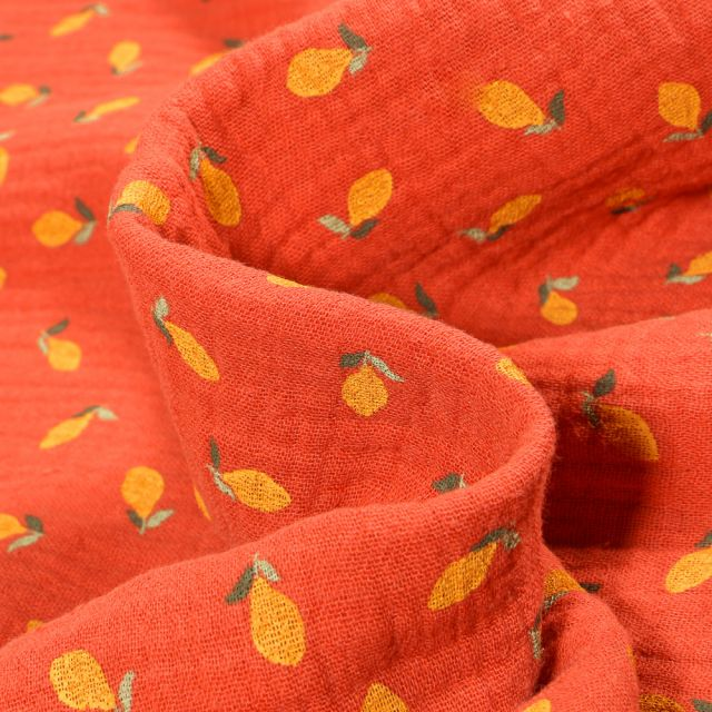 Tissu Double gaze Bio Citrons sur fond Brique