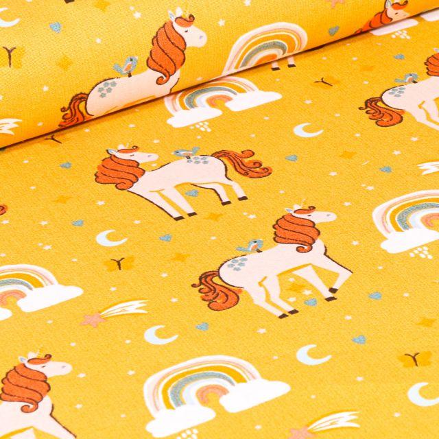 Tissu Coton imprimé Poney Licornes sur fond Jaune