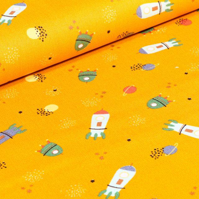 Tissu Coton imprimé LittleBird Voyage spatial sur fond Jaune