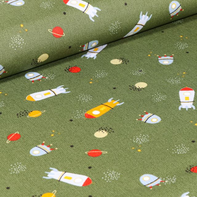 Tissu Coton imprimé LittleBird Voyage spatial sur fond Vert kaki