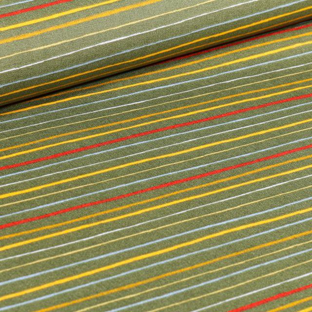 Tissu Coton imprimé LittleBird Rayures multicolores sur fond Vert kaki