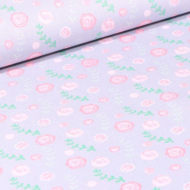 Tissu Coton imprimé Roses sur fond Gris clair