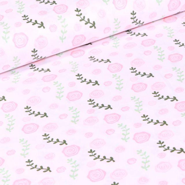 Tissu Coton imprimé Roses sur fond Blanc