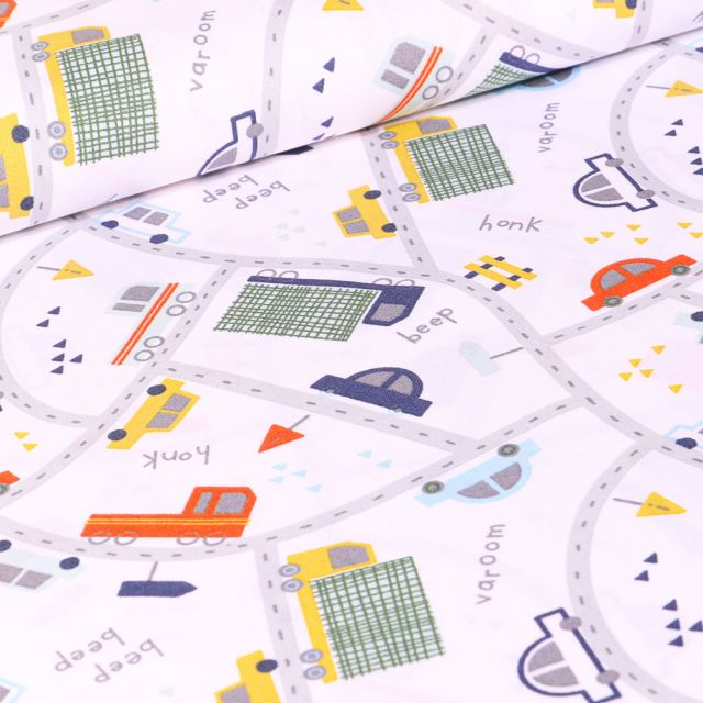 Tissu Coton imprimé LittleBird City sur fond Blanc