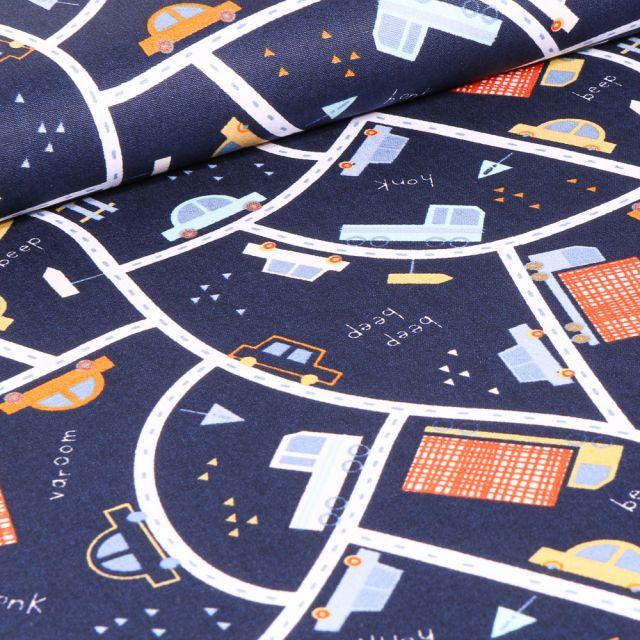 Tissu Coton imprimé LittleBird City sur fond Bleu marine