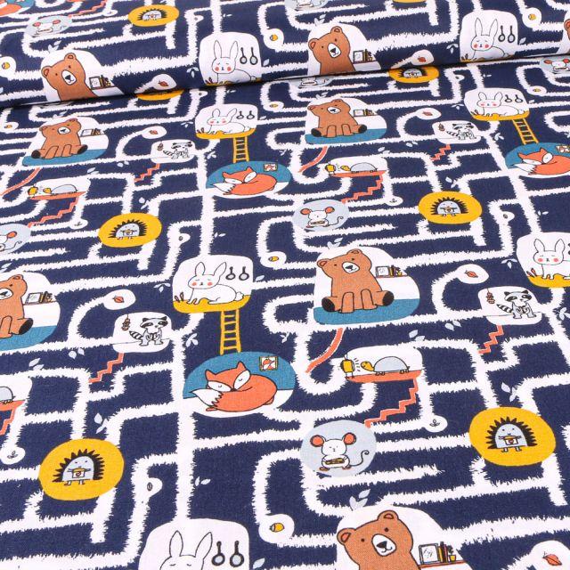 Tissu Coton imprimé Bio Labyrinthe et animaux sur fond Bleu marine