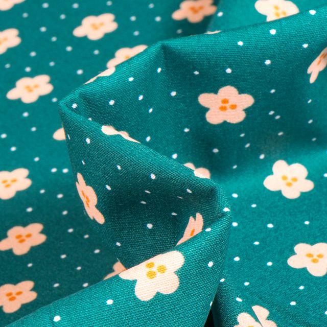 Tissu Coton imprimé Pâquerettes et pois sur fond Vert canard