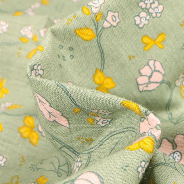 Tissu Coton imprimé Bio Floral Bird sur fond Vert pâle