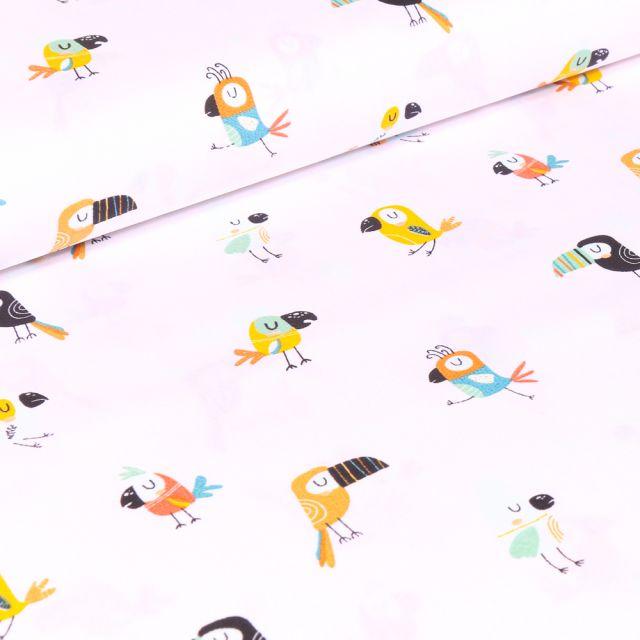 Tissu Coton imprimé LittleBird Toucans colorés sur fond Blanc