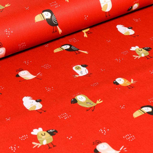 Tissu Coton imprimé LittleBird Toucans colorés sur fond Rouge