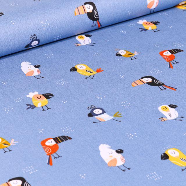 Tissu Coton imprimé LittleBird Toucans colorés sur fond Bleu