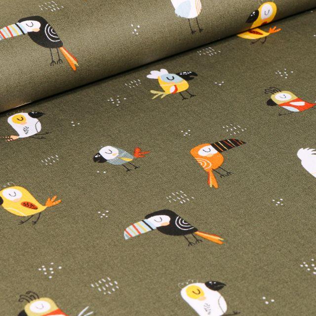 Tissu Coton imprimé LittleBird Toucans colorés sur fond Vert kaki