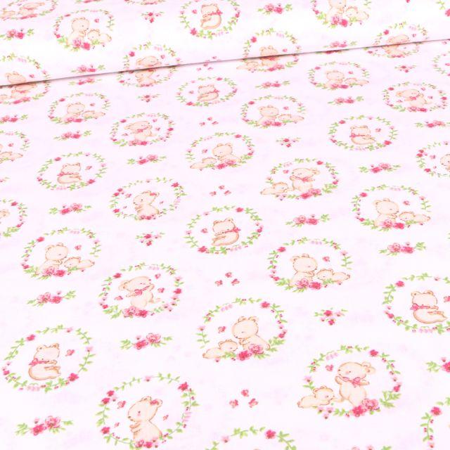 Tissu Coton imprimé Bio Oursons et couronnes de fleurs sur fond Blanc