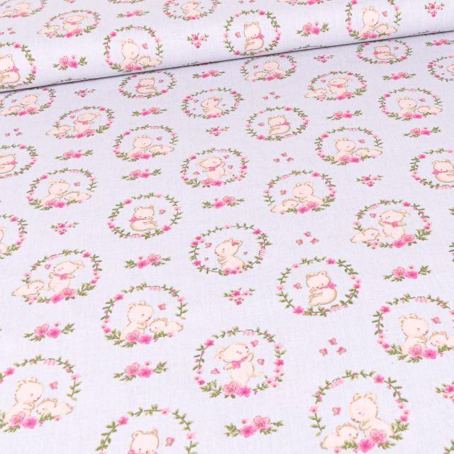Tissu Coton imprimé Bio Oursons et couronnes de fleurs sur fond Gris