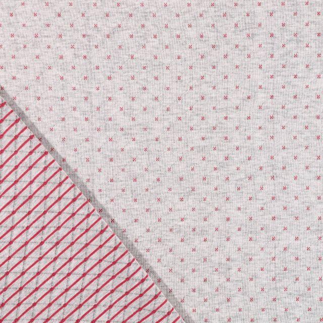 Tissu Sweat Matelassé Réversible Motifs Fuchsia sur fond Gris clair chiné - Par 10 cm
