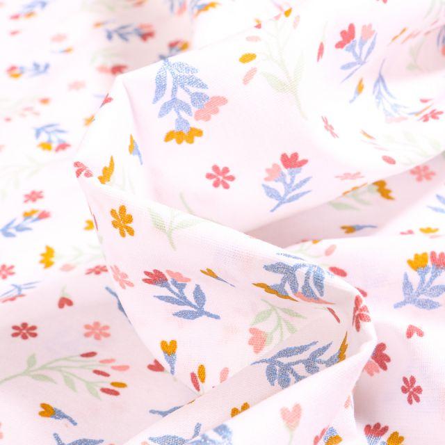 Tissu Coton imprimé  Lia sur fond Blanc