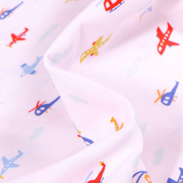 Tissu Coton imprimé Transports aériens sur fond Blanc