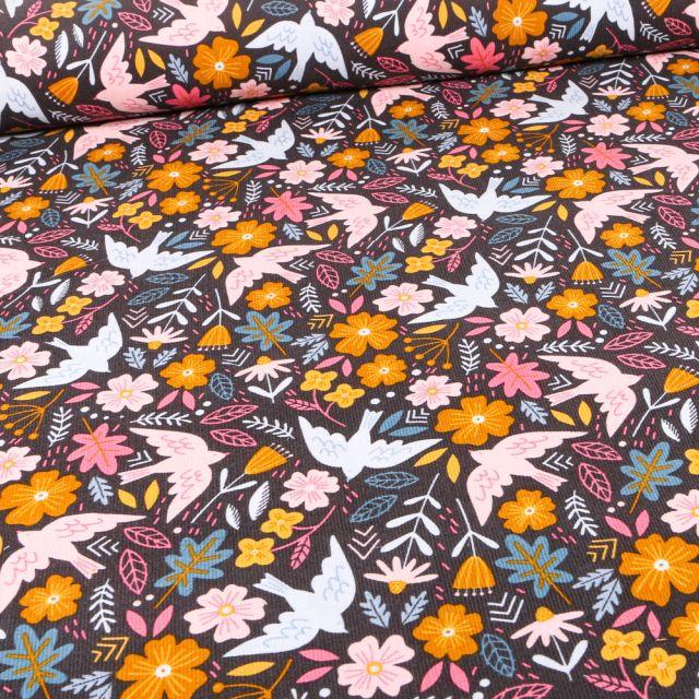 Tissu Velours milleraies Oiseaux et fleurs sur fond Noir