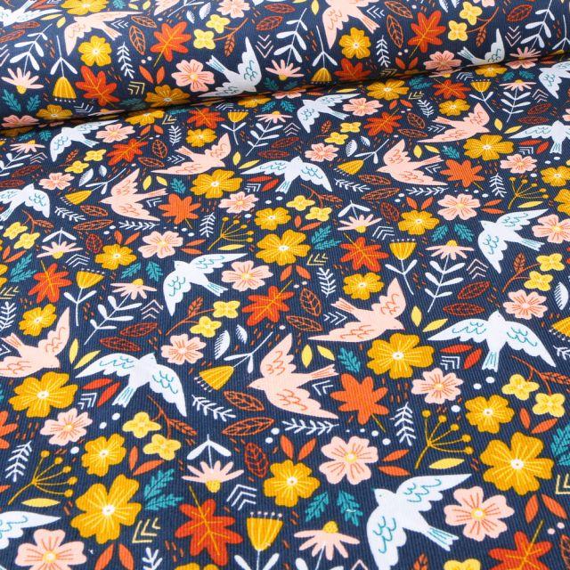 Tissu Velours milleraies Oiseaux et fleurs sur fond Bleu marine