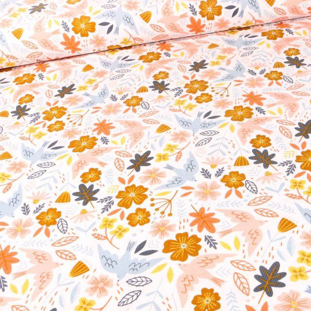Tissu Velours milleraies Oiseaux et fleurs sur fond Blanc