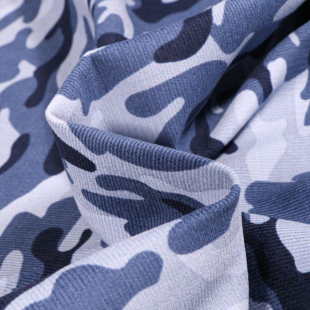 Tissu Velours milleraies Camouflages sur fond Bleu