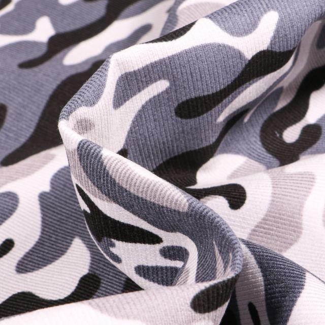 Tissu Velours milleraies Camouflages sur fond Gris