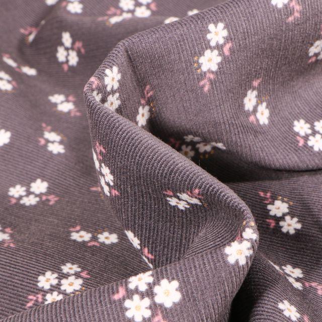 Tissu Velours milleraies Petites fleurs sur fond Gris anthracite
