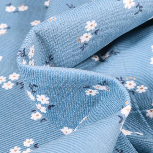 Tissu Velours milleraies Petites fleurs sur fond Bleu
