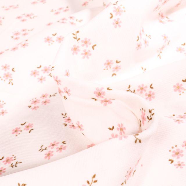 Tissu Velours milleraies Petites fleurs sur fond Blanc