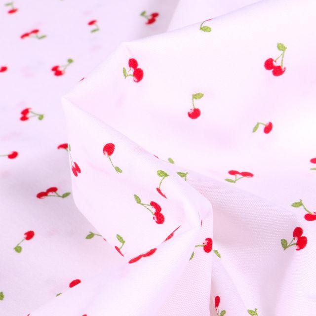 Tissu Coton imprimé Cherry Cherry sur fond Blanc