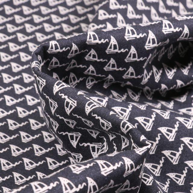 Tissu Coton imprimé extensible Voiliers sur fond Bleu marine