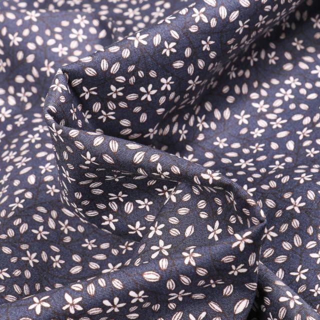 Tissu Coton imprimé extensible Célina sur fond Bleu marine