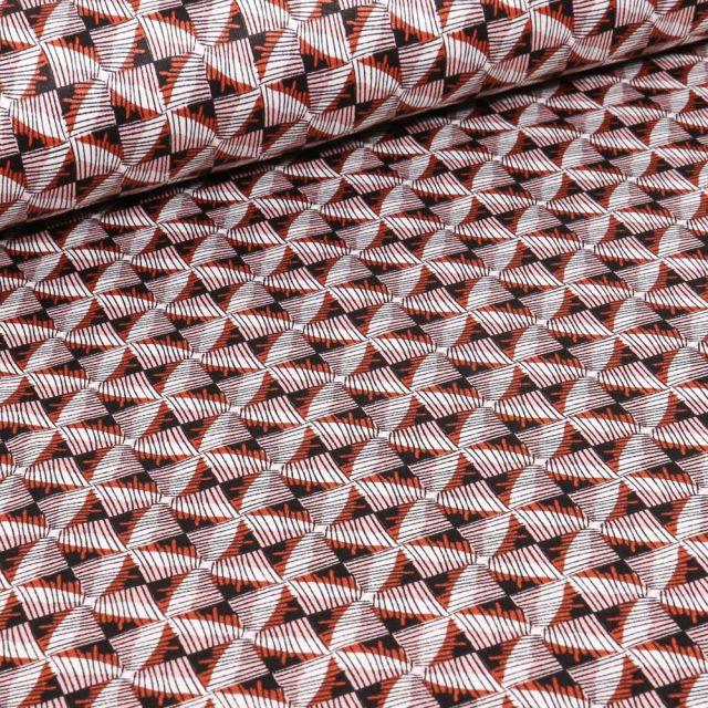 Tissu Coton satiné extensible Losanges abstraits sur fond Rouge