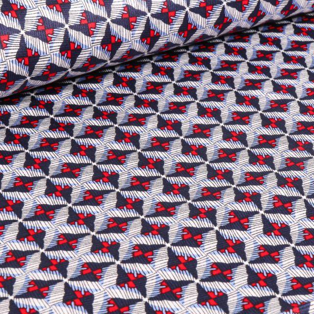 Tissu Coton satiné extensible Losanges abstraits sur fond Bleu